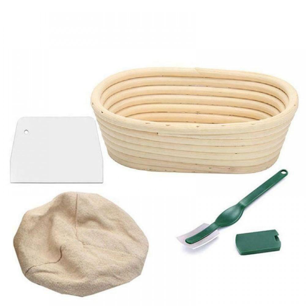 Банетоне овал - комплект кошница за втасване на хляб с ленено покритие, шпатула и държач с  ножче
