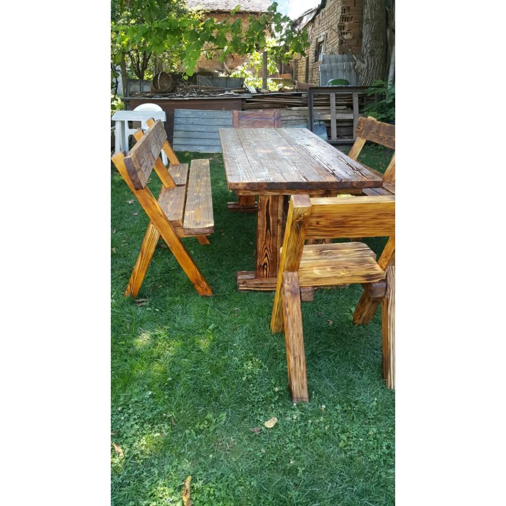Комплект градински мебели маса, пейки и столове.